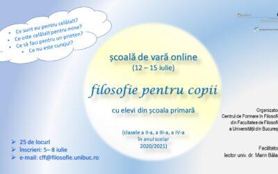 Școală de vară online – filosofie pentru copii: ediția a II-a