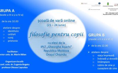 """Școală de vară online – filosofie pentru copii cu elevi de la IPLT """"Gheorghe Asachi"""" din Chișinău"""