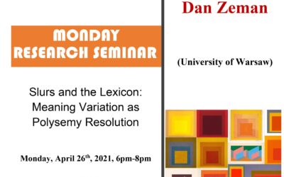 Seminar cercetare DFT 'Slurs and the Lexicon: Meaning Variation as Polysemy Resolution'